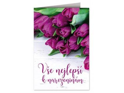 Přání k narozeninám Fialové tulipány A
