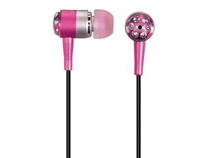 Sluchátka , HK-285 Crystal Alu, silikonové špunty, růžová/stříbrná, HAMA