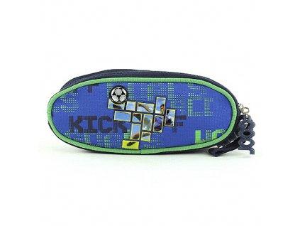 Školní penál elipsovitý Fotbal/Kick barva modro-zelená COOL