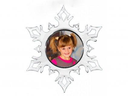 Vánoční fotoozdoba vločka, možnost vložit fotografii