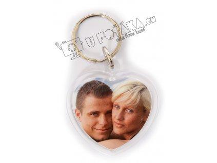 Fotoklíčenka akrylová, srdce malé včetně fotografií