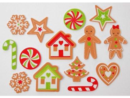 Vánoční dekorace - AMOLEPKY PĚNOVÉ PERNÍČKY