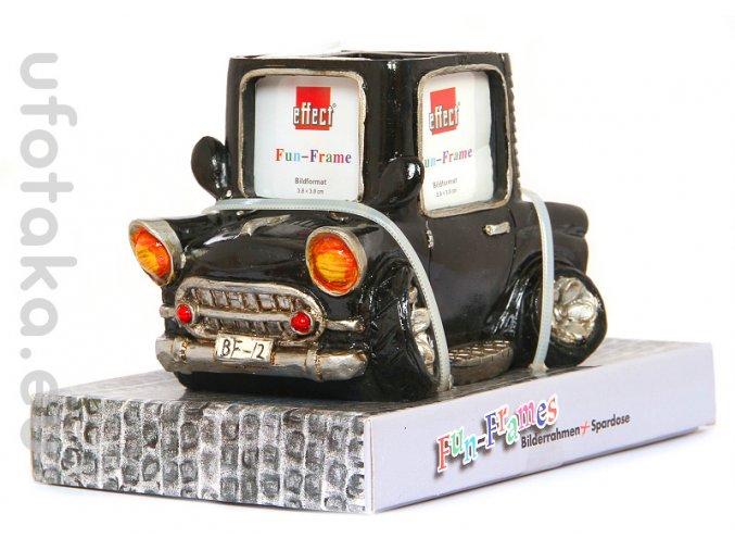 Rámeček Fun Frame - černé auto (kasička) 3,8x3,8cm