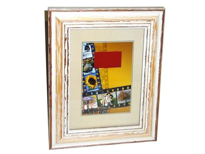 Fotorámeček 13x18 dřevěný CODEX 82B - bílý s patinou