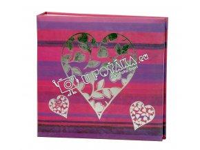 Fotoalbum 10x15/200 - valentýnské srdce červené stříbrné