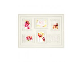 Fotorámeček na více fotografií, bílý 6x foto, dekorativní obruba