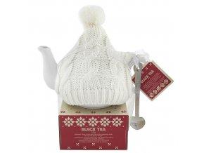 Dárková sada čajová konvička v bílém svetru