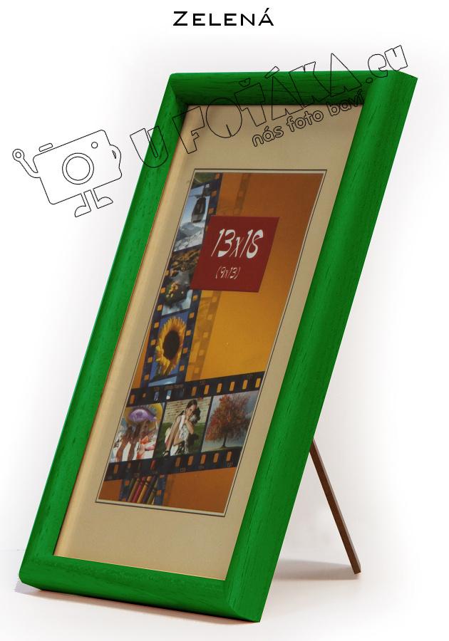 Fotorámeček 9x13 dřevěný CODEX zaoblený - různé barvy Barva: Zelená
