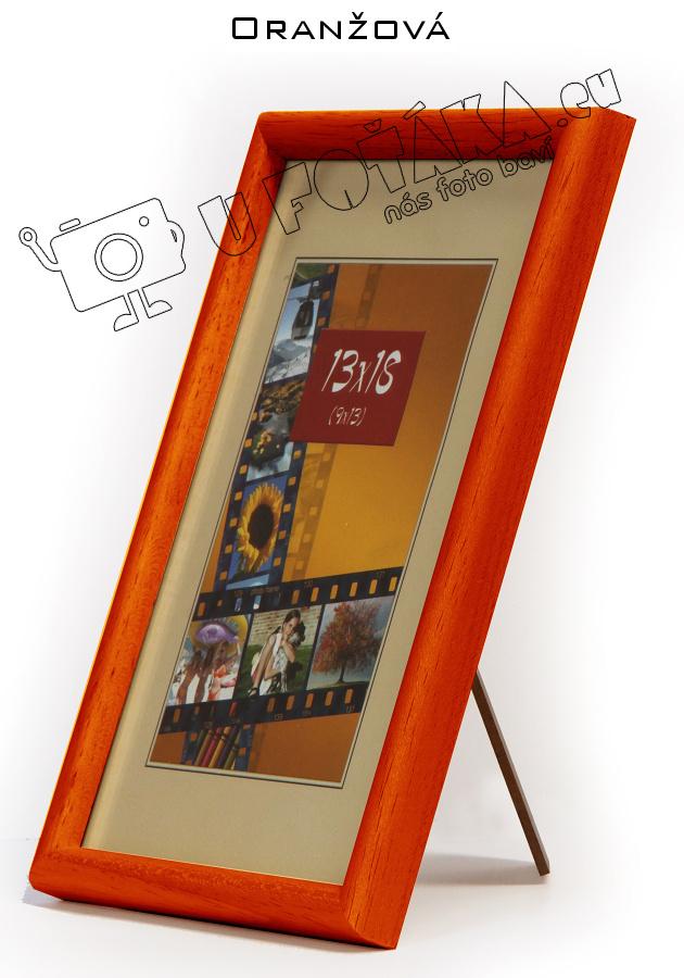 Fotorámeček 9x13 dřevěný CODEX zaoblený - různé barvy Barva: Oranžová