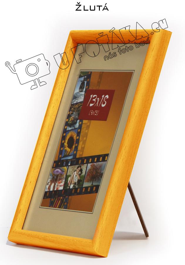 Fotorámeček 9x13 dřevěný CODEX zaoblený - různé barvy Barva: Žlutá