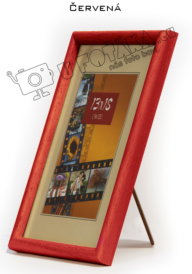 Fotorámeček 18x24 dřevěný CODEX zaoblený - různé barvy Barva: Červená