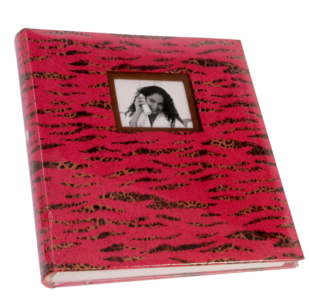 Fotoalbum na růžky 29x32cm 60 stran - KPH Safari růžovo černé