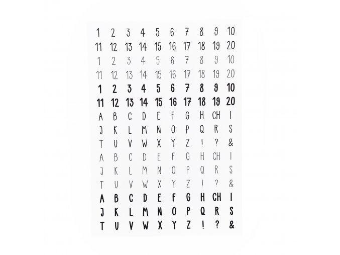 NÁLEPKY . abeceda + číslice . černobílé