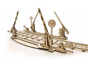 Ugears Dřevěná stavebnice 3D mechanické Puzzle Náhradní koleje + závora