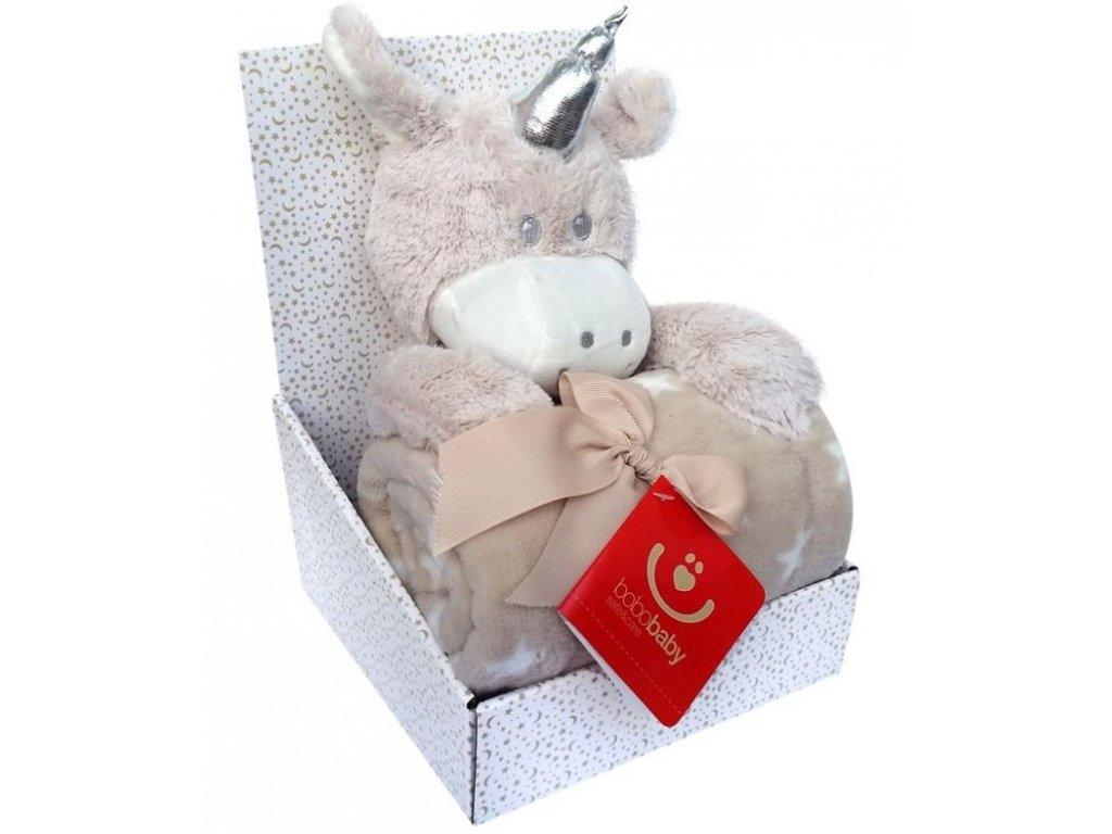 BOBOBABY dětská deka s hračkou JEDNOROŽEC Béžová