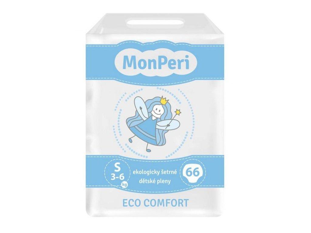 MonPeri Eco Comfort S 3–6 kg - 66 ks EKO Jednorázové dětské plenky (velikost 2)