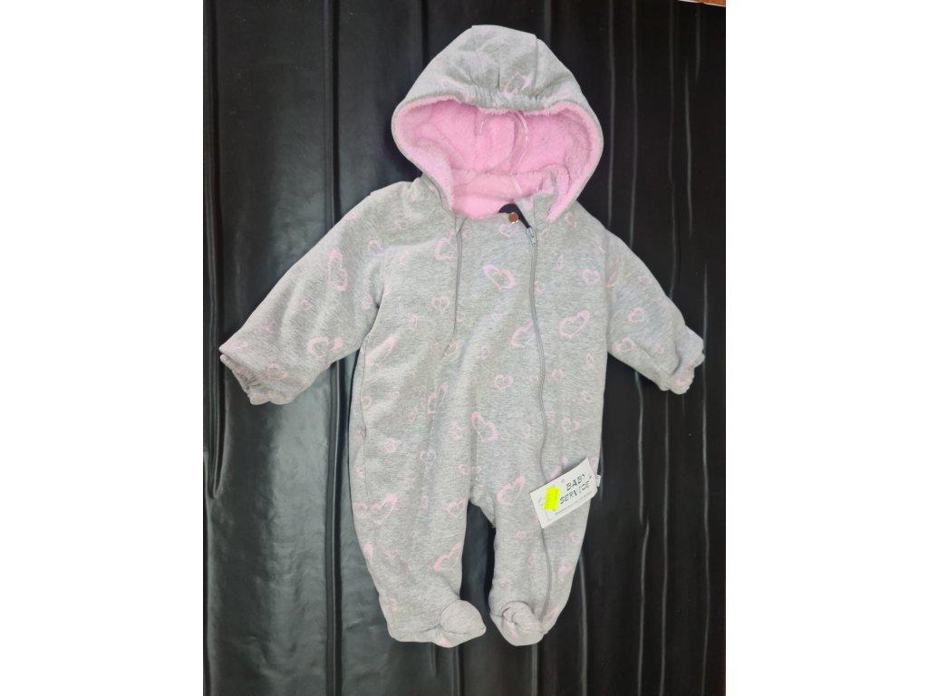 Zimní overal Baby Service růžový vel.74