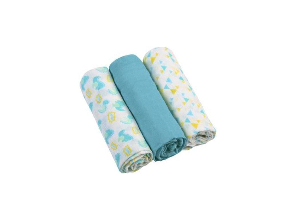 Pleny mušelínové - Super soft 3ks - Modré