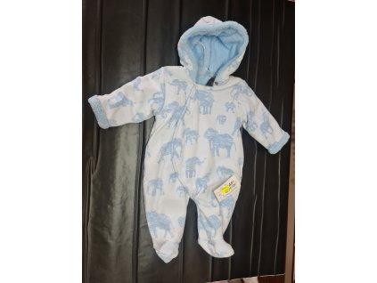 Zimní overal Baby Service modrý slon vel.68
