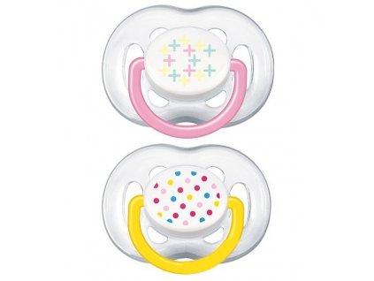 Dudlík/šidítko Philips AVENT SENSITIVE FANTAZIE 6-18m. bez BPA, 2ks, potisk žluté/růžové