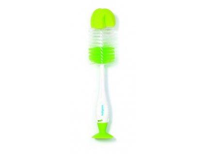Kartáč na čištění lahví a saviček 2v1 s přísavkou zelená