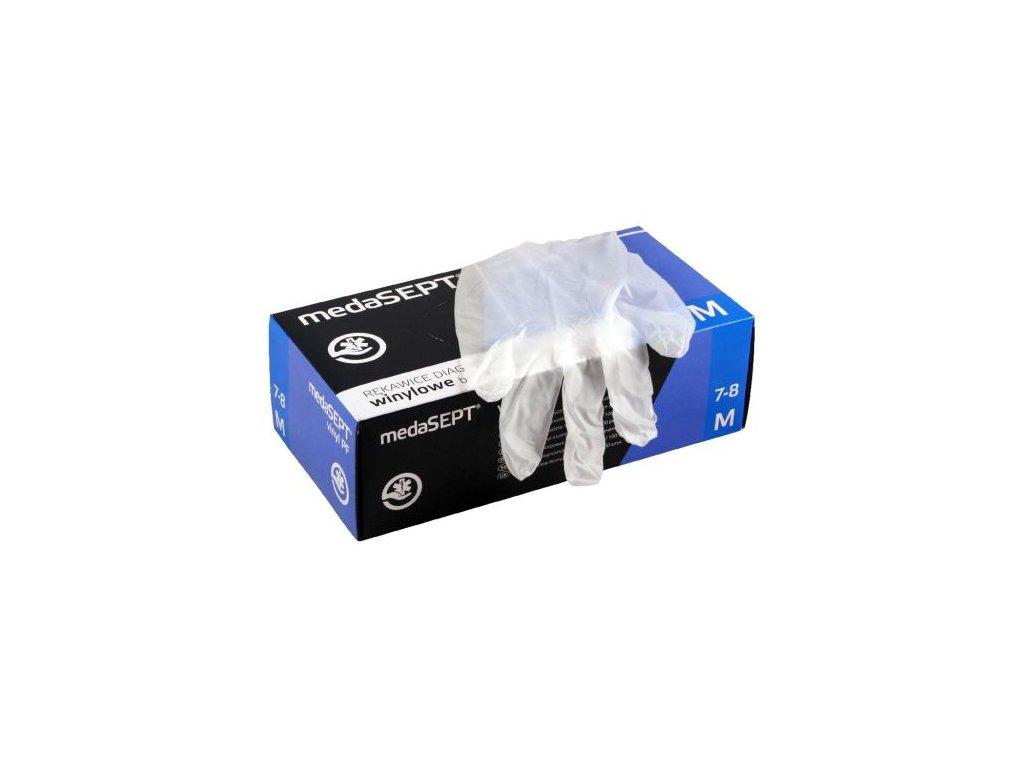 rukavice jednorazove bezpudrove 100 ks (L) 22x11x7 cm vinyl