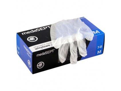 rukavice jednorazove bezpudrove 100 ks (M) 22x11x7 cm vinyl