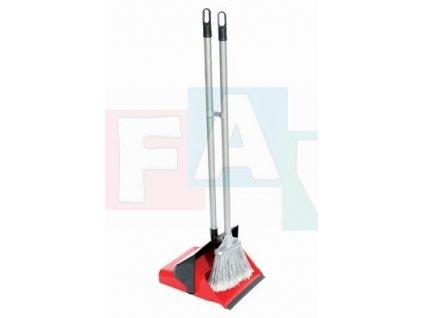 Smeták a lopatka EASYCLEAN s gumou a tyčí; 25,5x26,5x80 cm; chlup 12 cm; plast, kov