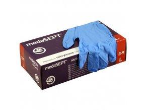 rukavice jednorazove bezpudrove 100 ks (M) 22x11x7 cm