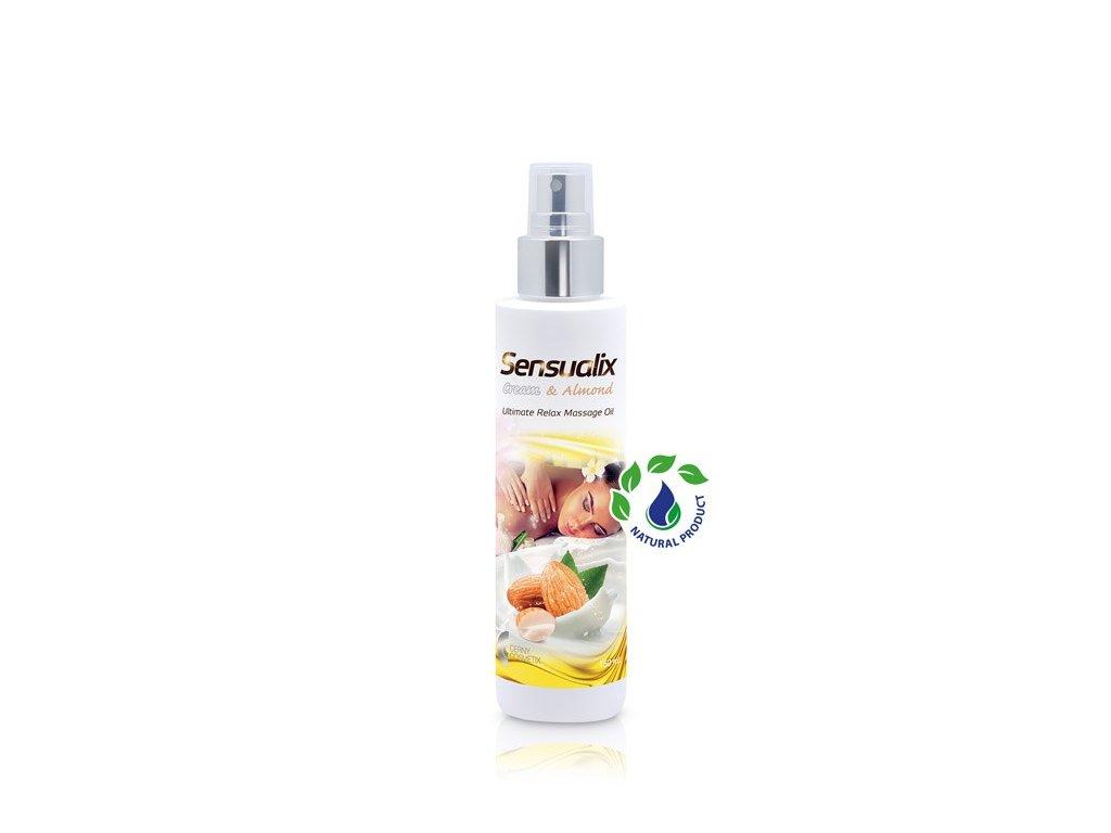 Masážní olej pro dokonalou relaxaci s vůní smetany a olejem z mandlí, 150 ml