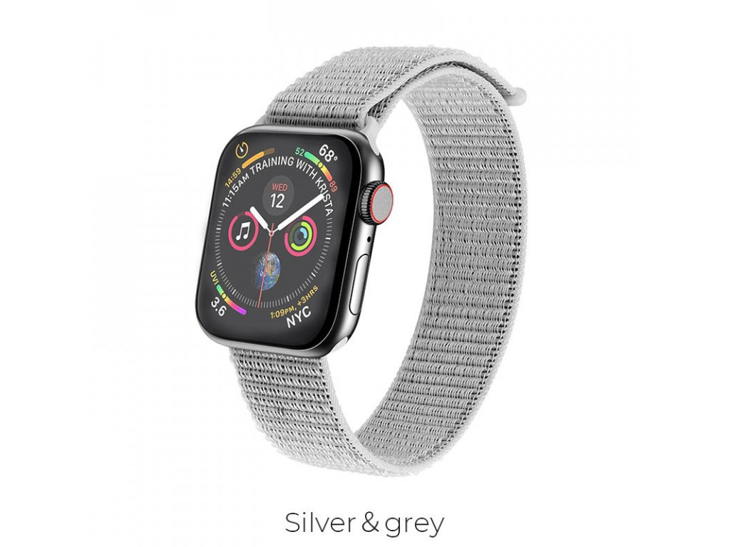 hoco wb06 tortuous nylon sports strap for apple watch silver gray