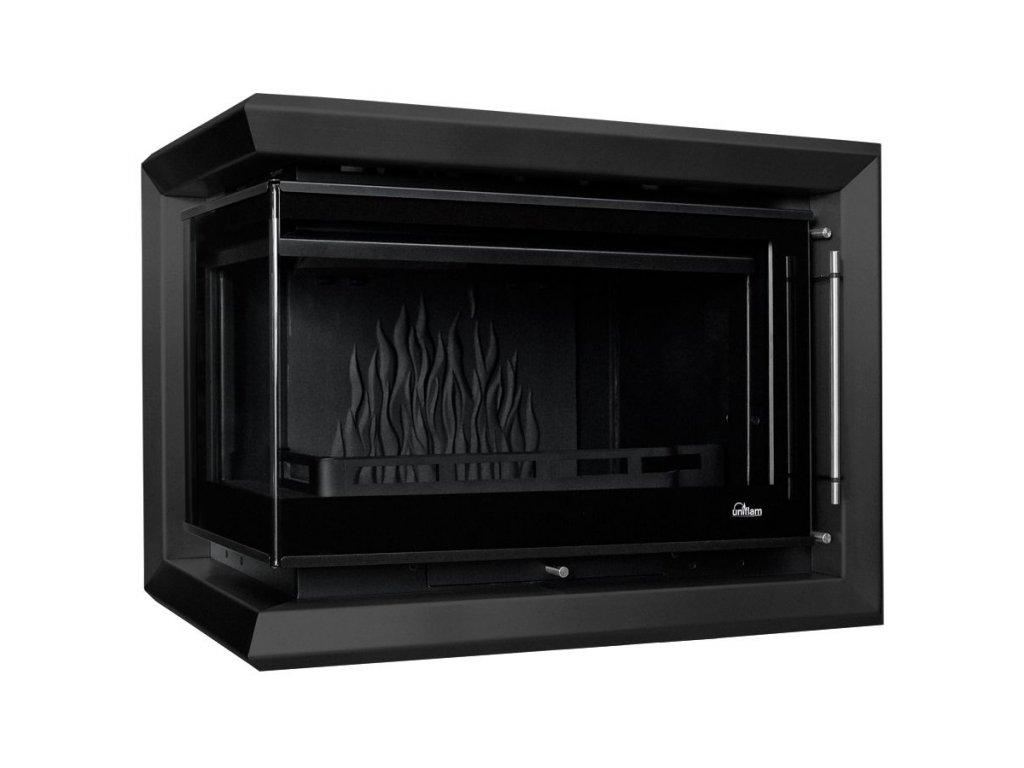 Dekorativní rám Uniflam 850 Prestige s bočním prosklením černý mat
