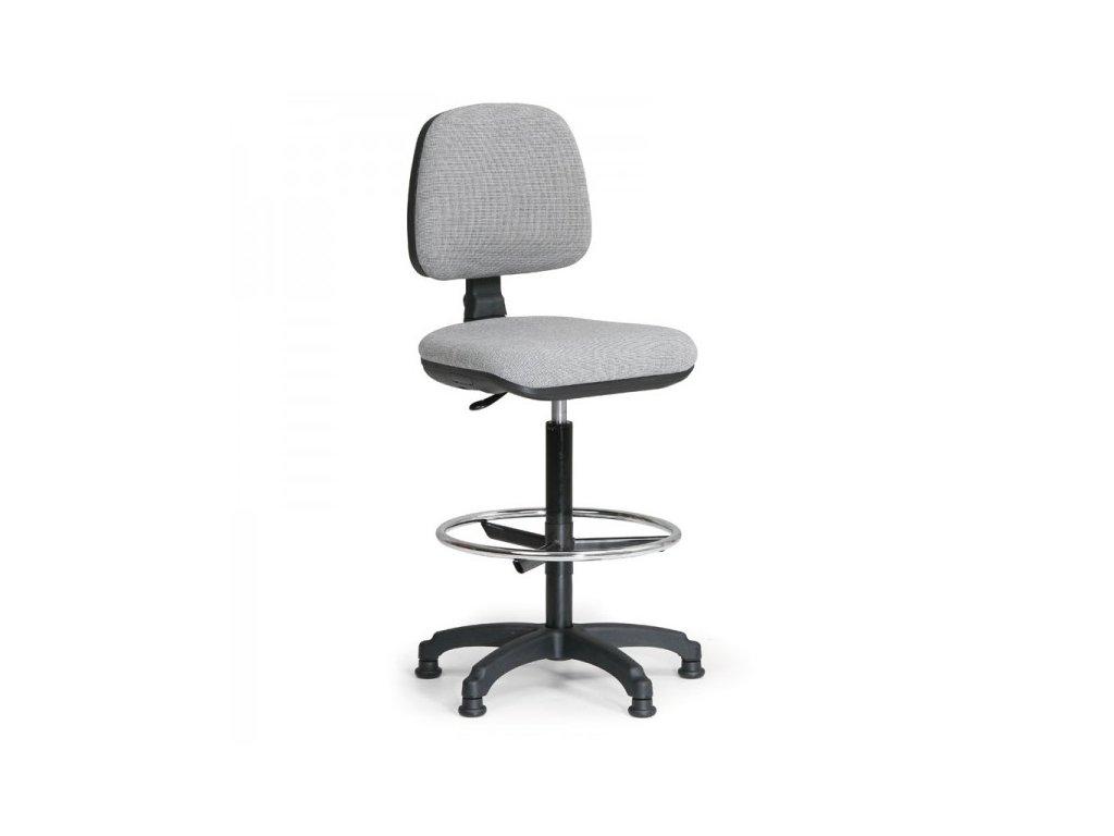 Zvýšená pracovní židle Milano s opěrkou nohou / šedá