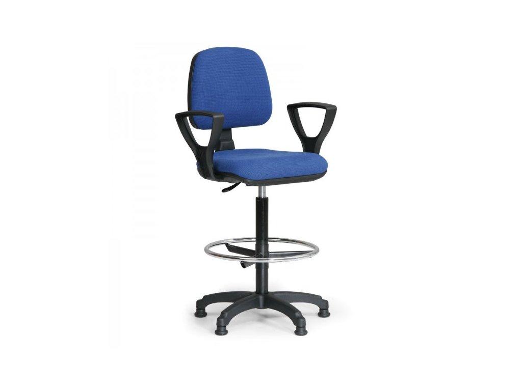 Zvýšená pracovní židle Milano s područkami / modrá
