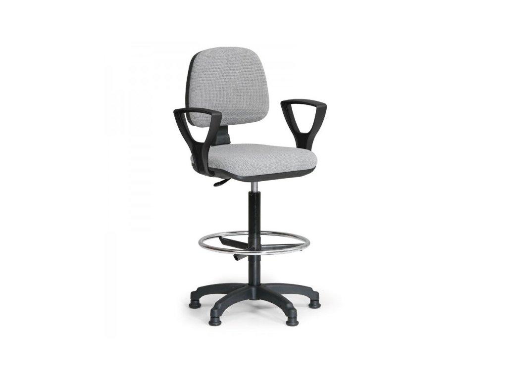 Zvýšená pracovní židle Milano s područkami / šedá