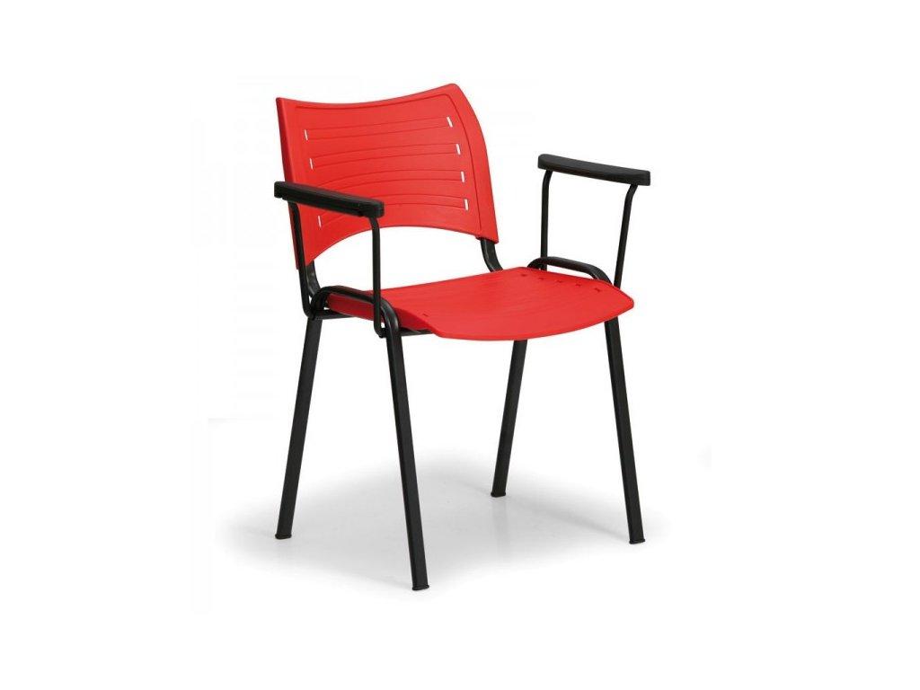 Plastová židle SMART - černé nohy s područkami