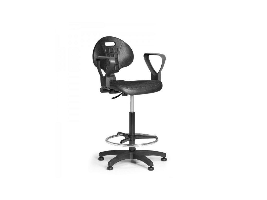 Pracovní židle PUR - permanentní kontakt, kluzáky