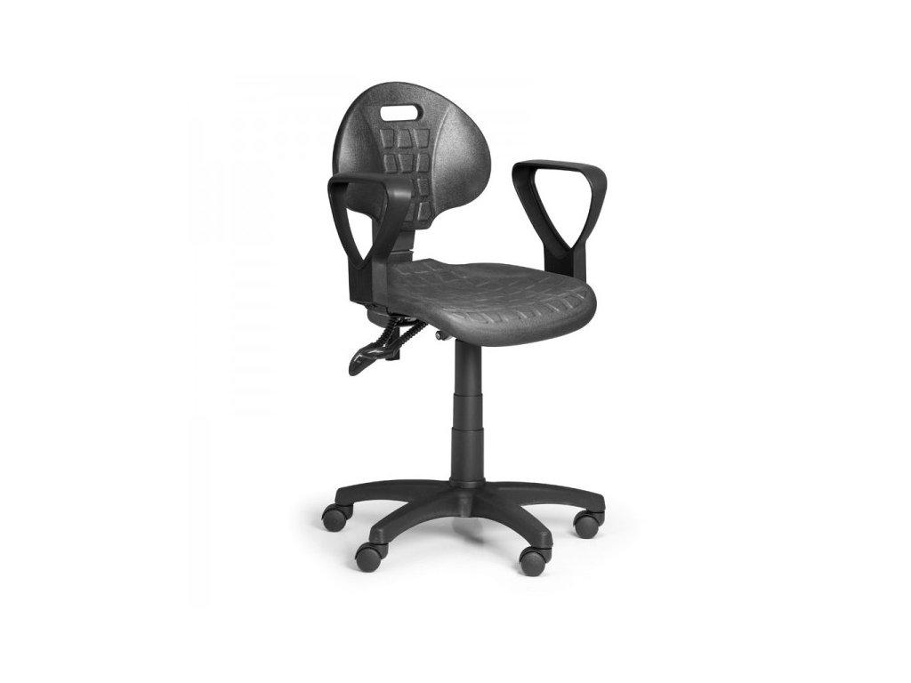 Pracovní židle PUR - asynchronní mechanika, univerzální kolečka