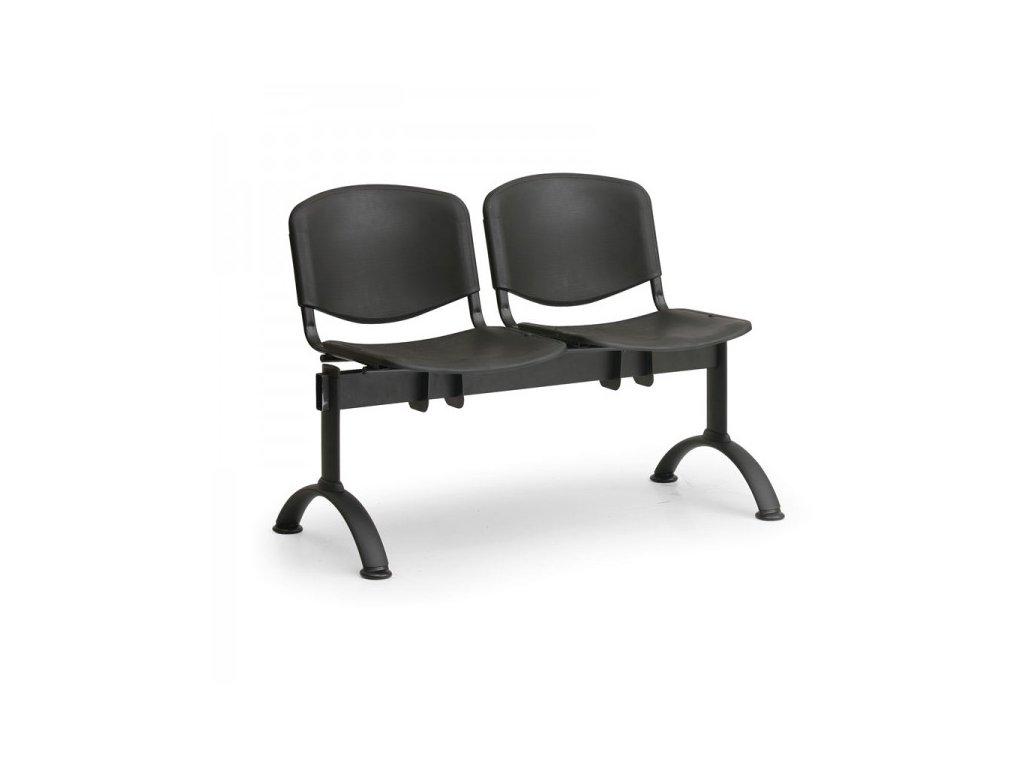 Plastová lavice ISO II, 2-sedák - černé nohy