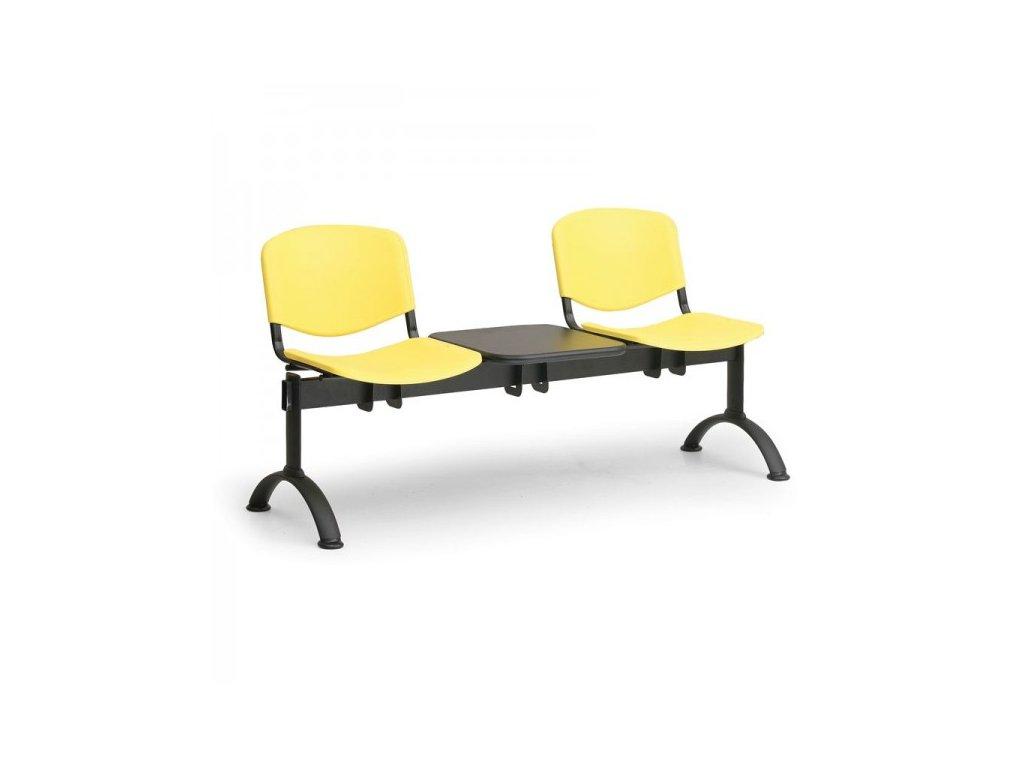 Plastová lavice ISO II, 2-sedák + stolek - černé nohy