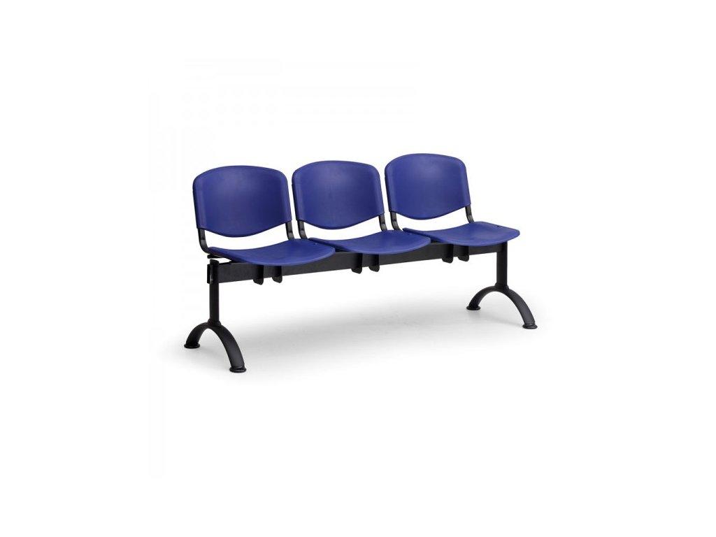Plastová lavice ISO II, 3-sedák - černé nohy