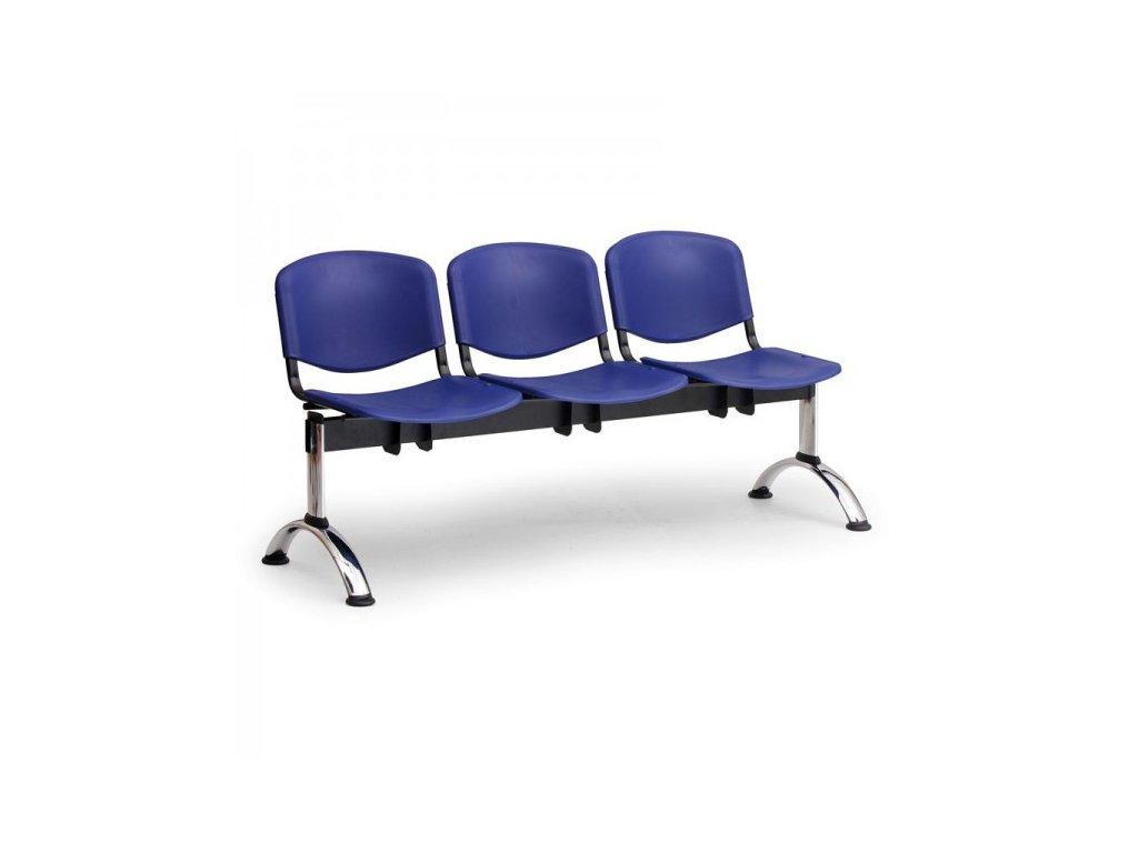 Plastová lavice ISO II, 3-sedák - chromované nohy