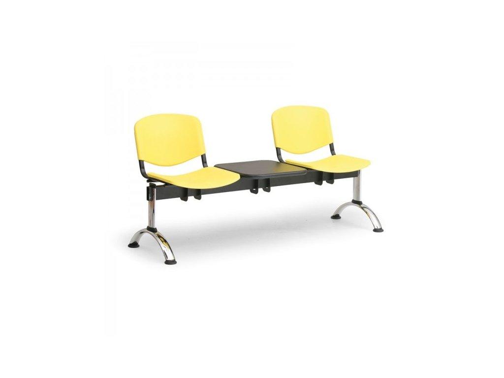 Plastová lavice ISO II, 2-sedák + stolek - chromované nohy