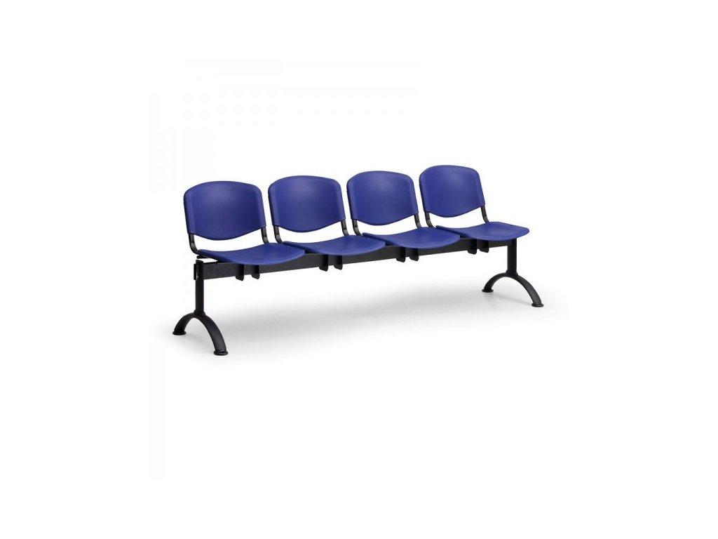 Plastová lavice ISO II, 4-sedák - černé nohy