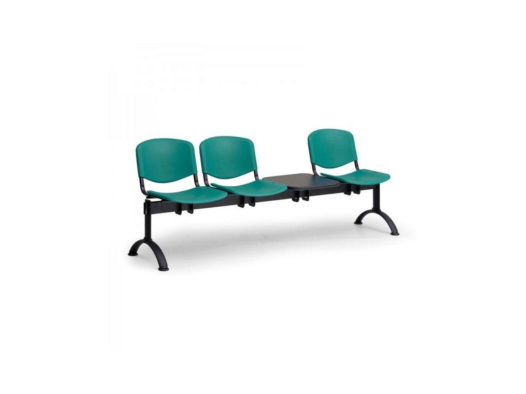 Plastová lavice ISO II, 3-sedák + stolek - černé nohy