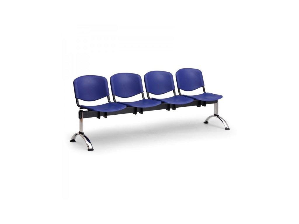 Plastová lavice ISO II, 4-sedák - chromované nohy