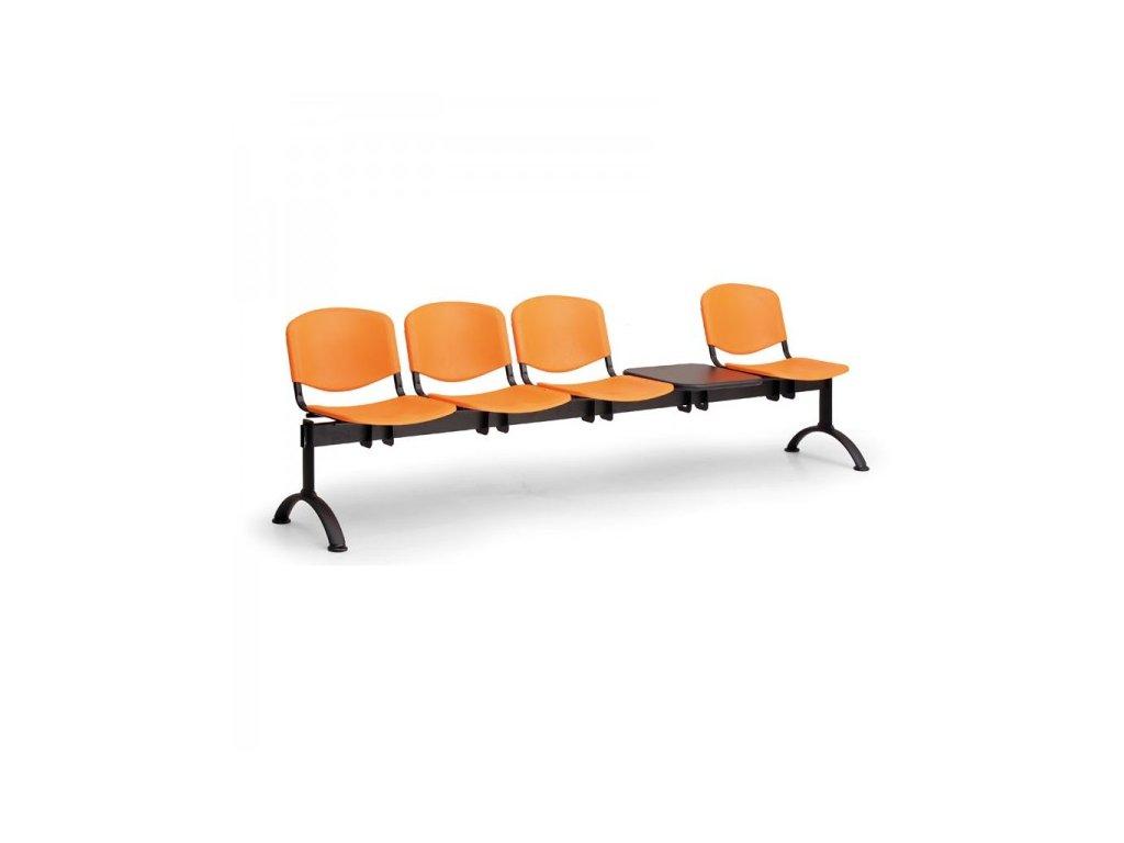 Plastová lavice ISO II, 4-sedák + stolek - černé nohy