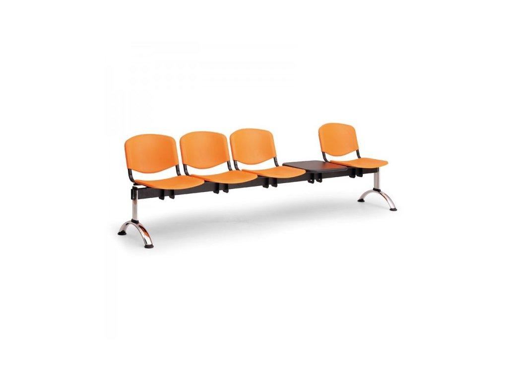 Plastová lavice ISO II, 4-sedák + stolek - chromované nohy
