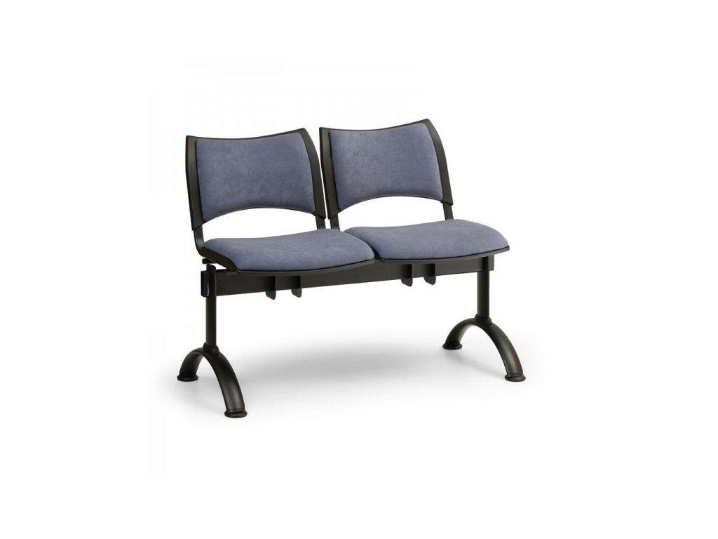 Čalouněná lavice SMART, 2-sedák - černé nohy / Oranžová