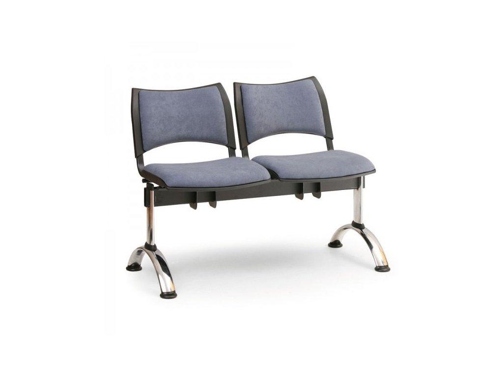 Čalouněná lavice SMART, 2-sedák - chromované nohy / Modrá